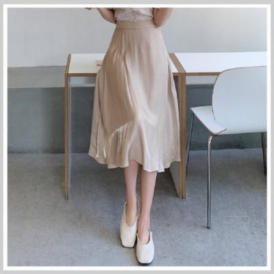 長裙 高腰氣質拉鏈質感長裙RJ6019-創翊韓都