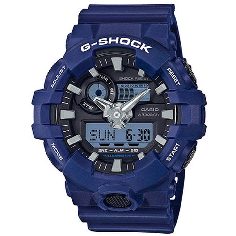 G-SHOCK 卡西歐突破創新 雙顯運動錶(GA-700-2A)-藍/53.4mm