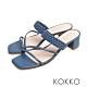 KOKKO時髦方頭細帶編織牛皮粗跟涼拖鞋經典藍 product thumbnail 1