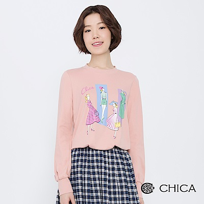 CHICA 復古俏女伶手繪插畫圓領衛衣(3色)