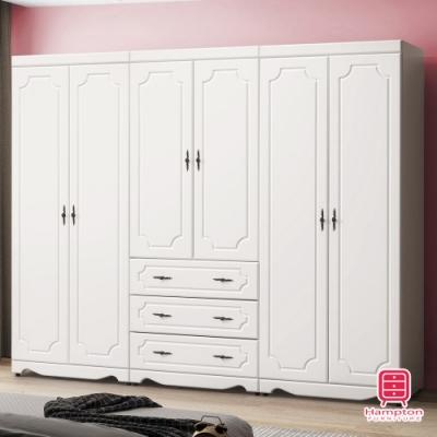 漢妮Hampton托比拉烤白8尺衣櫥-241.5x56.5x197cm