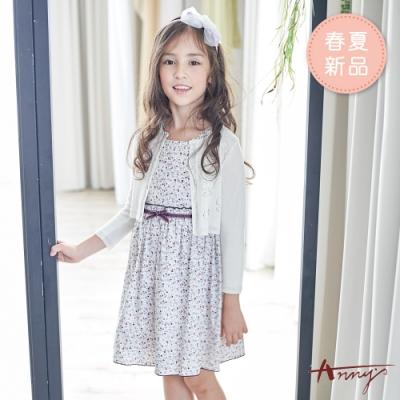 Annys安妮公主-小小花叢氣質方領春夏款蝴蝶結綁帶洋裝*9136紫色