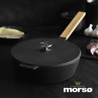 丹麥Morsø 皇家黑爵士橡木單柄琺瑯鑄鐵炒鍋附蓋-25cm (附收納袋)