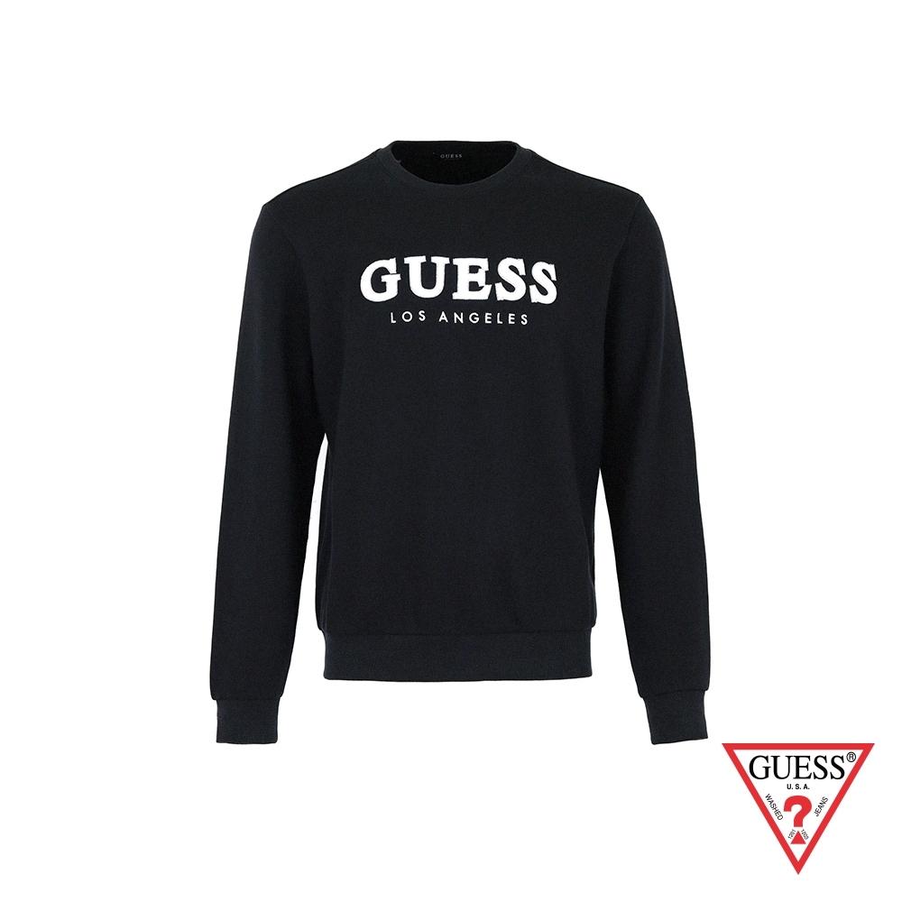 GUESS-男裝-立體絨毛LOGO大學T-深藍 原價2990