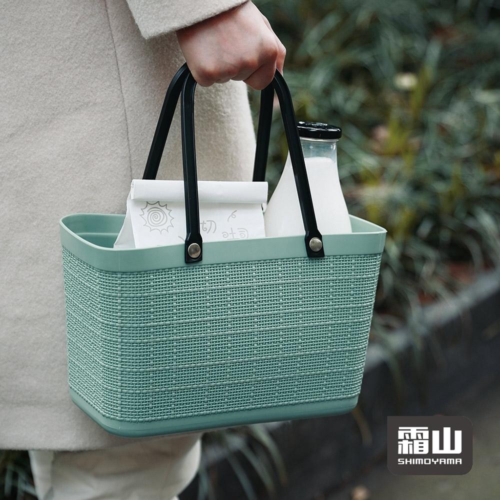 日本霜山 復古仿亞麻布格紋萬用防水便攜手提籃 (午餐袋/便當袋)