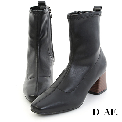 D+AF 知性話題.車線剪裁木紋跟短靴*黑
