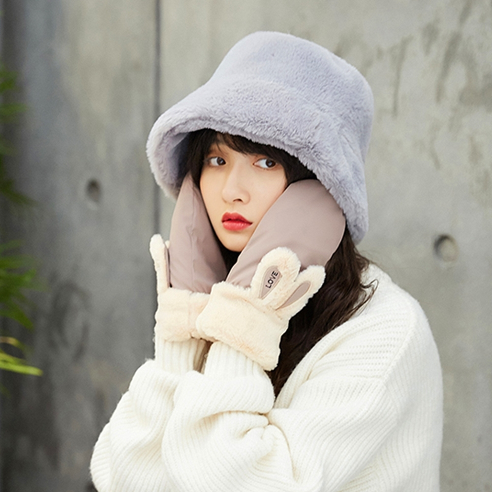 幸福揚邑 韓版時尚保暖毛絨漁夫帽盆帽平頂帽-深灰