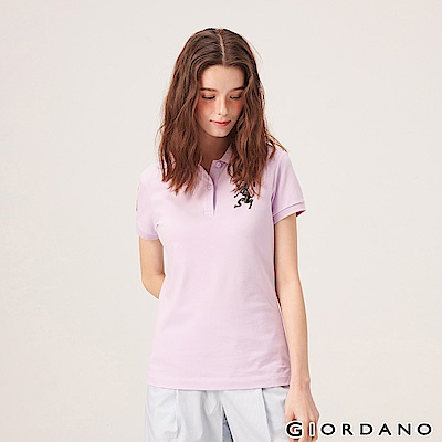 GIORDANO 女裝勝利獅王漸層刺繡彈力萊卡POLO衫-08 微風紫