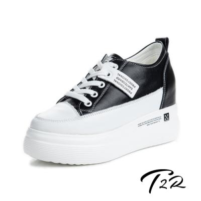 T2R-正韓空運-厚底氣墊增高鞋織帶造型真皮帆布鞋小白鞋隱形增高鞋-增高8.5公分-黑