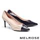 高跟鞋 MELROSE 經典俐落壓紋異材質皺褶尖頭高跟鞋-粉 product thumbnail 1