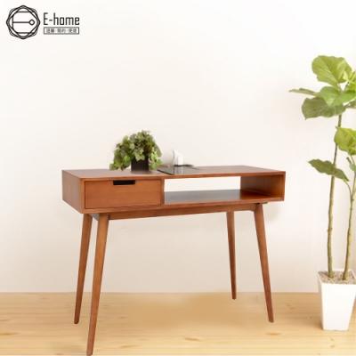 E-home Micha米卡一空單抽全實木玄關桌-兩色可選