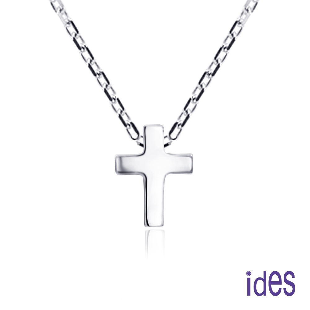 ides愛蒂思 輕珠寶義大利進口14K白金十字架項鍊鎖骨鍊(16吋-KP619)
