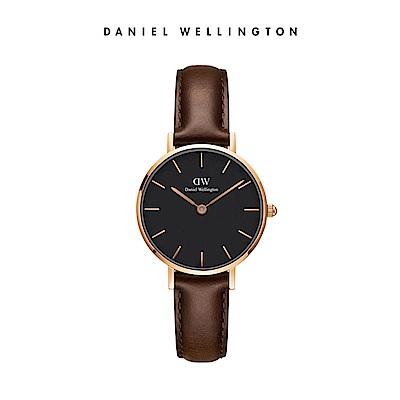 DW 手錶 官方旗艦店 28mm玫瑰金框 Classic Petite 深棕真皮皮革