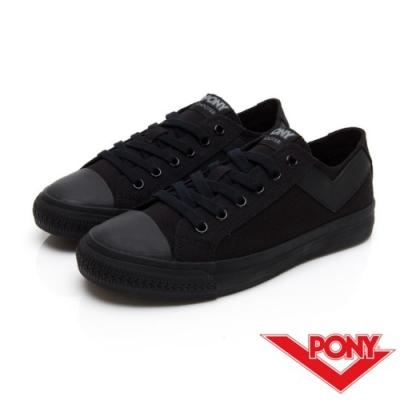 【PONY】Shooter系列百搭復古經典帆布鞋 休閒鞋 情侶鞋 男鞋 黑色