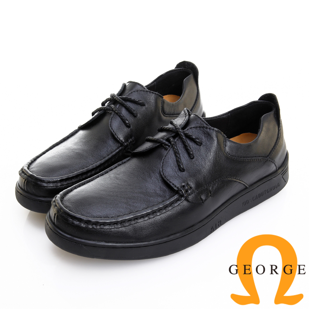 GEORGE 喬治皮鞋 舒適系列 柔軟真皮寬楦粗繩鞋帶休閒鞋 -黑