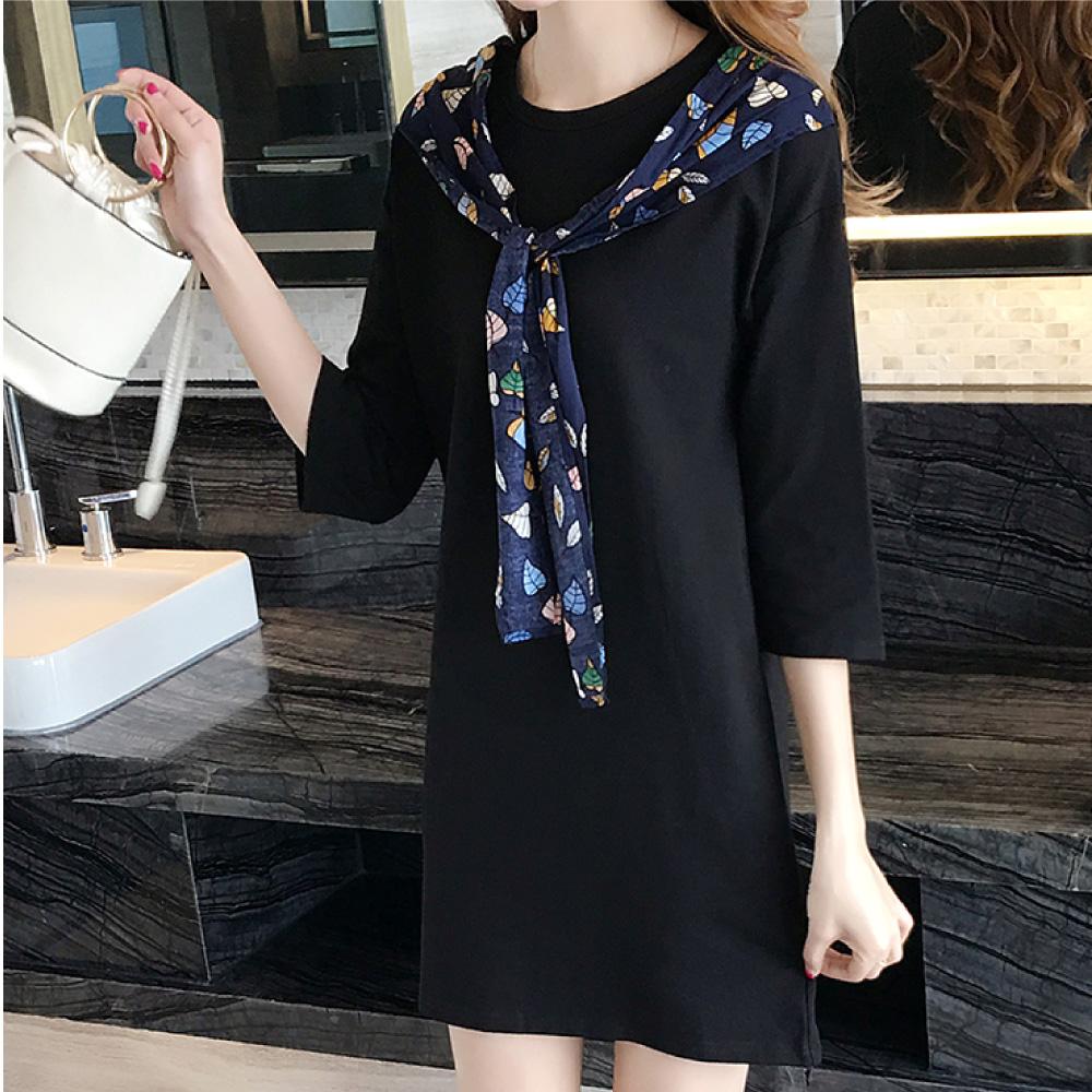 中大尺碼彩色葉子領巾披肩七分袖黑色洋裝XL~4L-Ballet Dolly