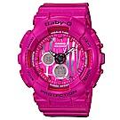 BABY-G 就愛塗鴉 街頭時尚休閒女錶(BA-120SP-4A)-桃紅色/43.4mm