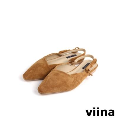 viina Basic 尖頭拼接後空平底鞋 - 焦糖