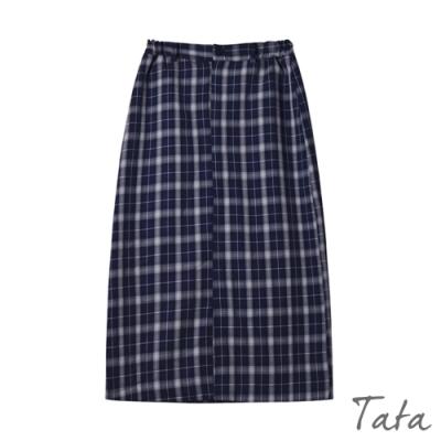 經典格紋開衩長裙 TATA-(S/M)