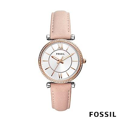 FOSSIL CARLIE 粉色鑲鑽皮革女錶 35mm ES4484