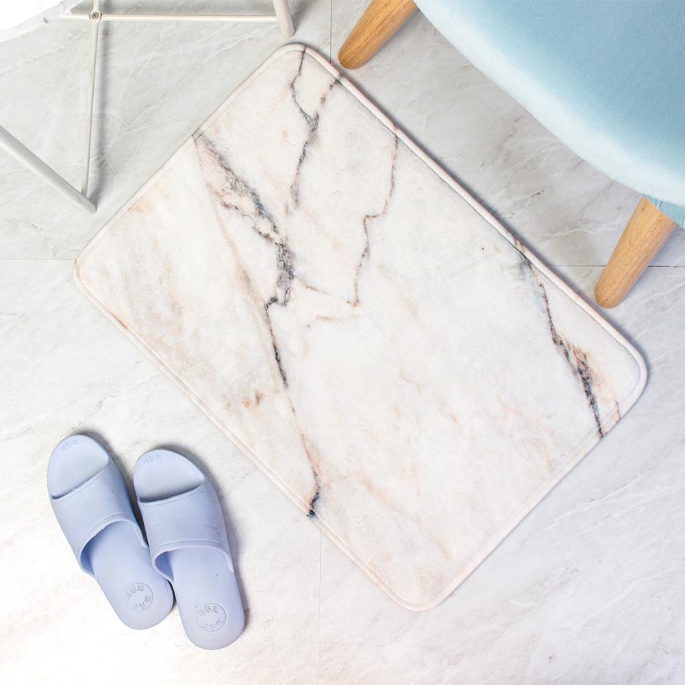樂嫚妮 法蘭絨吸水防滑地墊-大理石紋白
