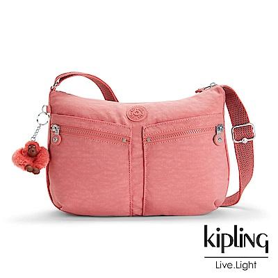 Kipling 斜背包 豆沙霧粉素面-大