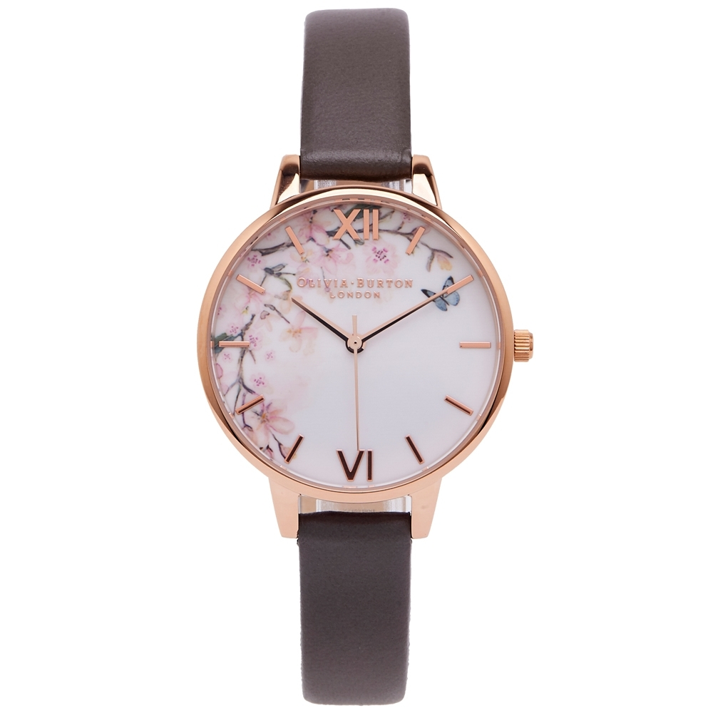 Olivia Burton 櫻語弄蝶皮革錶帶手錶(OB16EG122)-白面/34mm