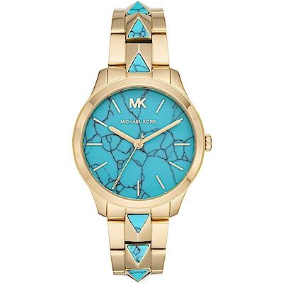 MICHAEL KORS 街頭鉚釘時尚手錶(MK6670)-藍X金/38mm