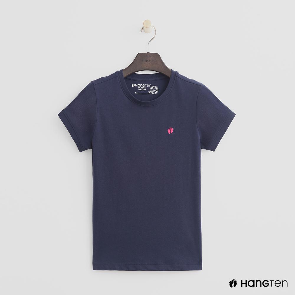 Hang Ten - 女裝 - 有機棉-logo圓領純色T恤 - 藍 @ Y!購物