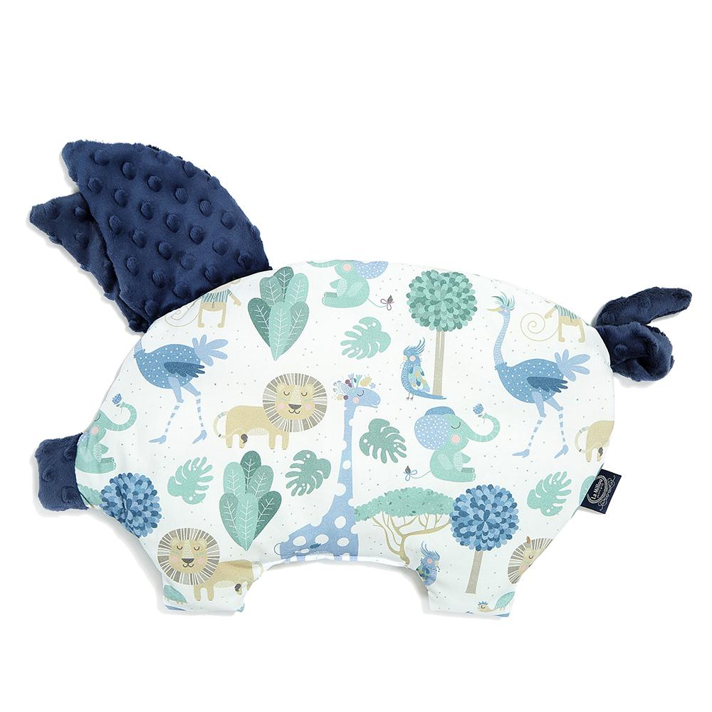La Millou 豆豆小豬枕嬰兒枕-動物探險隊(藍底)-勇氣海軍藍