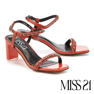 涼鞋 MISS 21 個性壞美漆皮鏈條方頭一字高跟涼鞋-橘