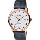 MIDO美度 Baroncelli III 羅馬機械錶-銀x玫塊金框x黑色錶帶/39mm