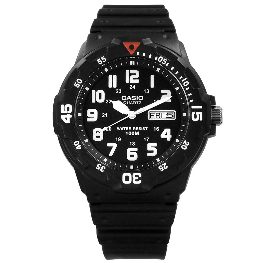 CASIO 卡西歐 運動風格橡膠手錶-黑色 MRW-200H-1B 43mm