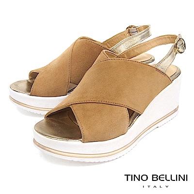 Tino Bellini 歐洲進口麂皮寬帶交叉楔型涼鞋 _ 棕