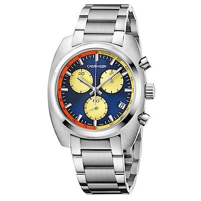 CALVIN KLEIN 成就系列藍黃面盤三眼計時款手錶-43mm