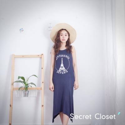 Secret Closet-鐵塔字母不規則棉質洋裝-深藍