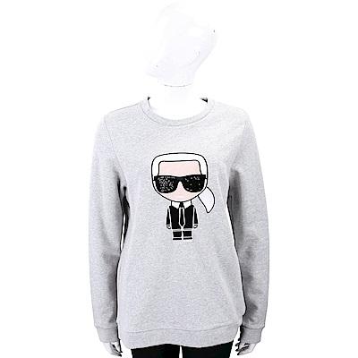 Karl Lagerfeld IKONIK 亮片墨鏡刺繡老佛爺灰色棉質運動衫
