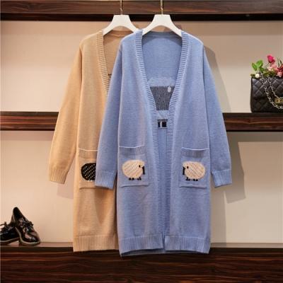 簡約百搭開襟針織毛衣長款外套XL-4XL(共二色)KVOLL
