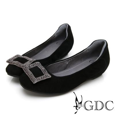 GDC-真皮高貴水鑽舒適方扣平底包鞋-黑色