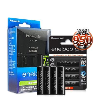 國際牌 智控型4槽 低自放充電器+黑鑽款 950mAh 低自放4號充電電池(8顆入)