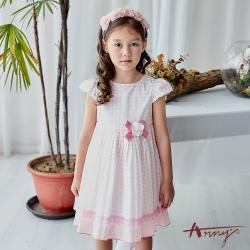 Annys安妮公主-中童粉色普普風點點網紗珍珠花朵半袖洋裝*9122粉