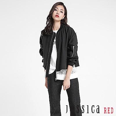 JESSICA RED - 個性蕾絲拼接飛行外套(黑)