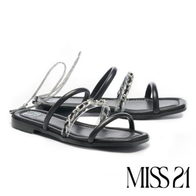 拖鞋 MISS 21 前衛叛逆異材質繫帶鏈條方頭低跟拖鞋-黑