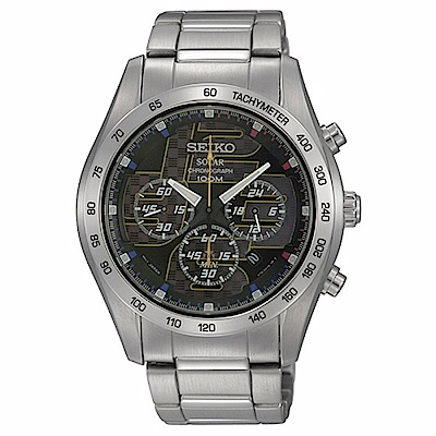 SEIKO Criteria 分秒必爭太陽能三眼計時男腕錶/藍面/41mm/V175-0A