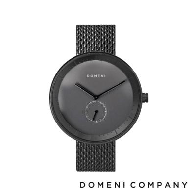 DOMENI COMPANY 經典系列 316L不鏽鋼單眼錶 黑色錶帶 -灰/40mm