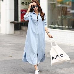 正韓 休閒長袖長版牛仔襯衫洋裝 (共二色)-N.C21