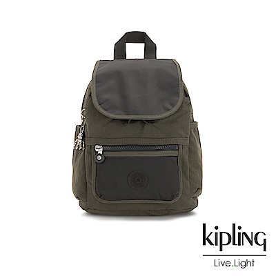 Kipling 簡約橄欖綠色前方掀蓋拉鍊後背包-WAKITA