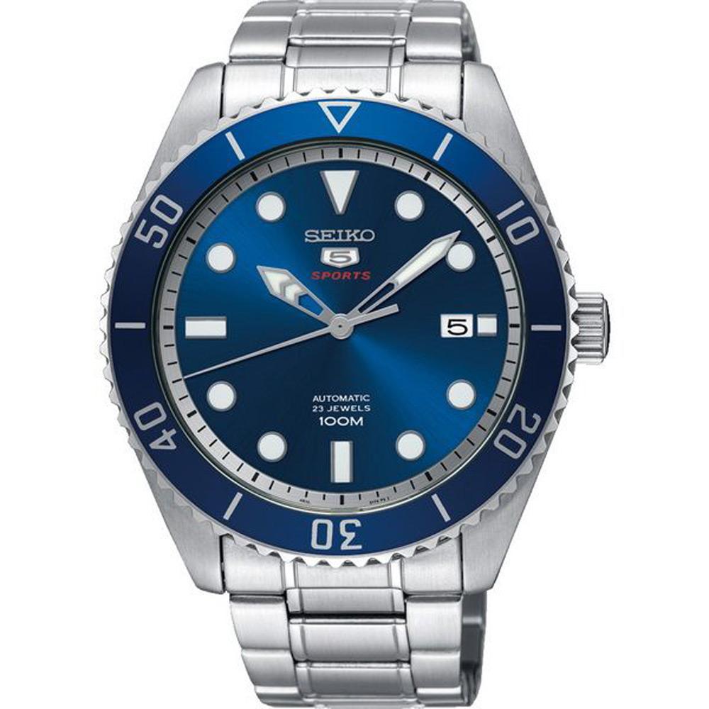 SEIKO 精工 盾牌五號 時尚機械手錶 SRPB89J1-藍X銀/44mm