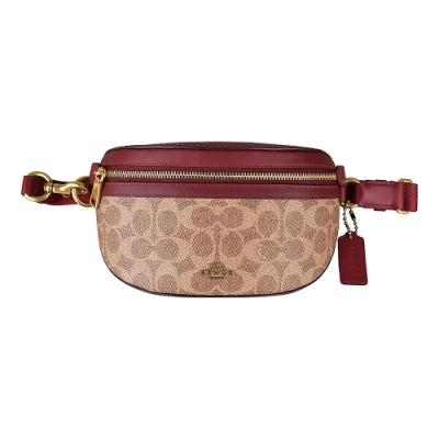COACH專櫃款金字馬車LOGO PVC拉鍊胸腰包(棕紅)