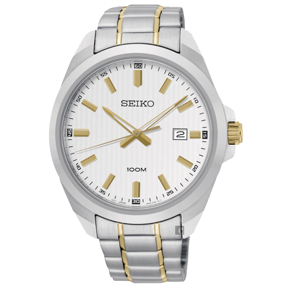 SEIKO 精工 城市時尚石英手錶-銀x雙色/42mm